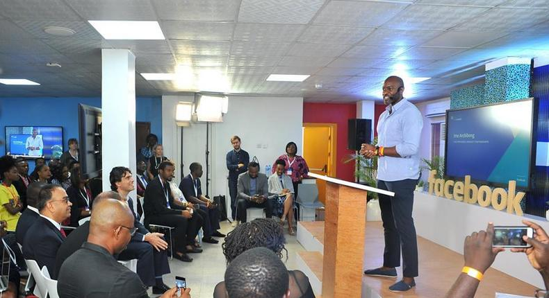 Ime Archibong opening the launch event at the new NG_Hub in Lagos.