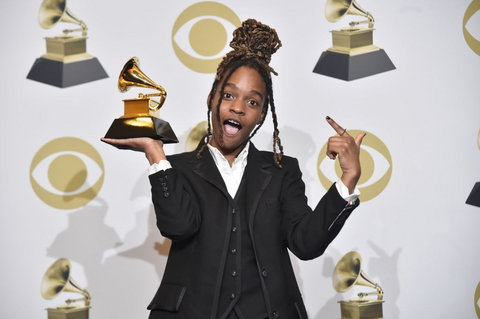 Koffee with her 2020 Grammy for Best Reggae Album. (Vibe)