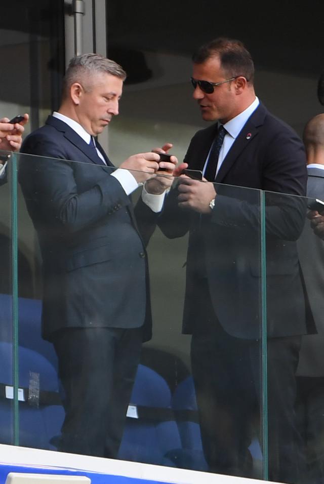 Prvi čovek srpskog fudbala Slaviša Kokeza i naš proslavljeni fudbaler, sada savetnik UEFA Dejan Stanković