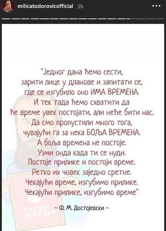 Milica Todorović, citat sa Instagrama