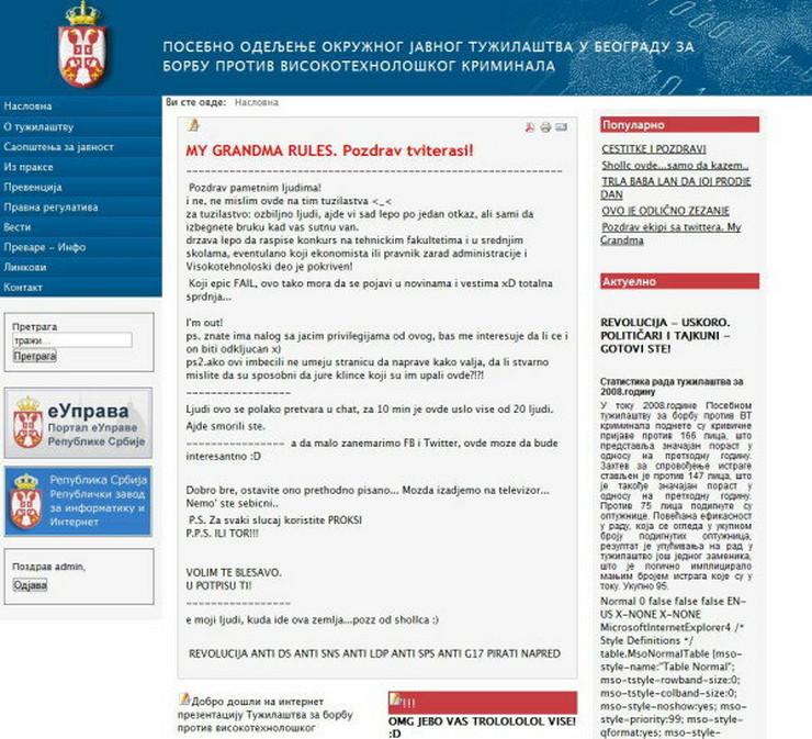 Hakovani sajt Tužilaštva za visokotehnološki kriminal