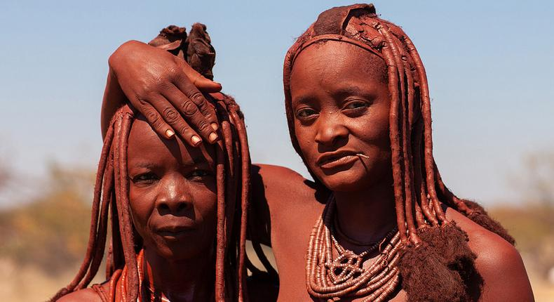 Namibia's Himba tribe women covered with otjize