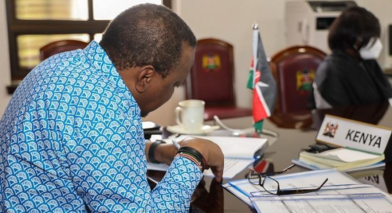 President Uhuru Kenyatta during a virtual meeting at his office