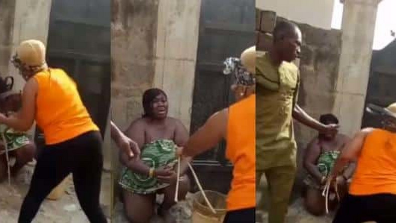 Image result for Nigerian woman beating her husbands girl friend