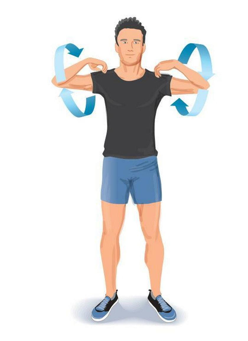 Ćwiczenie poranne 5. Stojąc prosto, dłonie połóż na ramionach.
