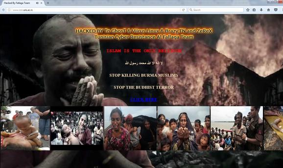 Slike i natpisi koje su hakeri ostavili na sajtu