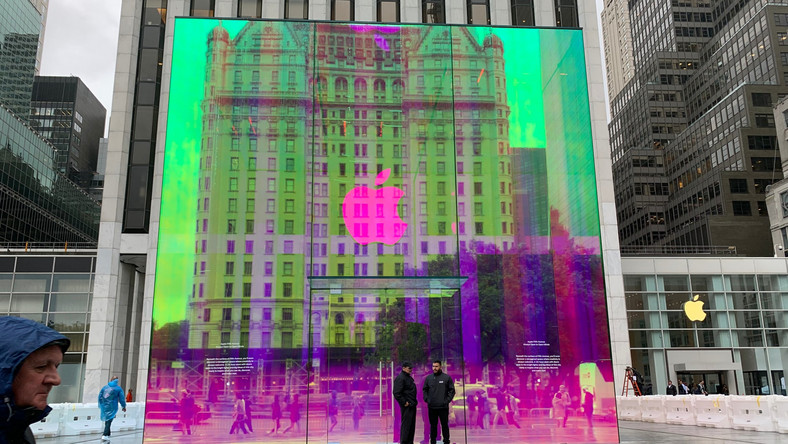 Apple's iconic glass cube outside its flagship 5th Avenue