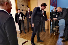 """(FOTO) PUTIN: """"PRESLADAK JE!"""" Evo kako je šarplaninac, poklon Vučića, reagovao na ruskog predsednika"""