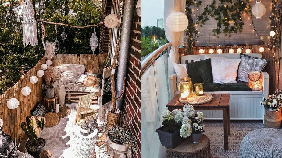 Jak stworzyć przytulny balkon za pomocą małych dodatków, fot. Instagram / @kalk_katt, @healthylifestyle_domi_