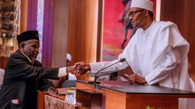 President Buhari swearing in Tanko Mohammed as CJN (Presidency)