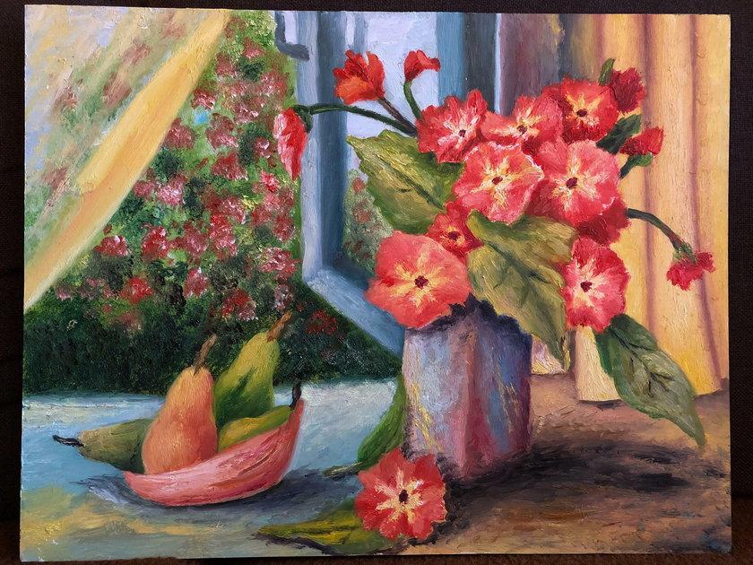 Obrazy maluje stopami