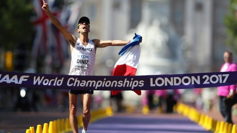 France's Yohann Diniz wins the men's 50km walk at the 2017 IAAF World Championships on The Mall in central London on August 13, 2017
