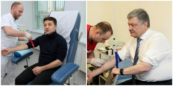 Zelenski i Porošenko daju krv