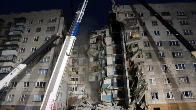 A large section of the building collapsed after a gas explosion on Monday morning in the central Russian city of Magnitogorsk