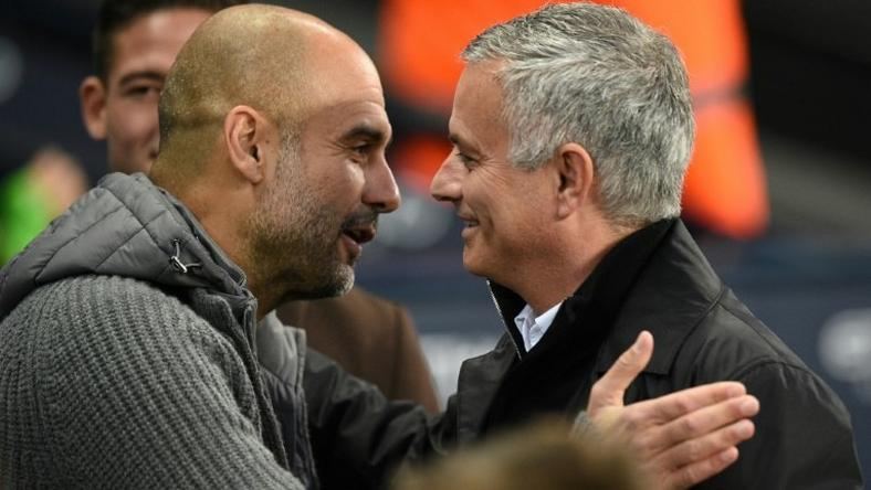 Pep Guardiola's Manchester City are outspending Manchester United, managed by Jose Mourinho (right)