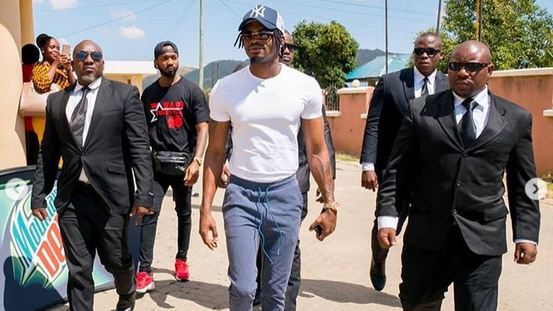 Image result for diamond platnumz with tight security