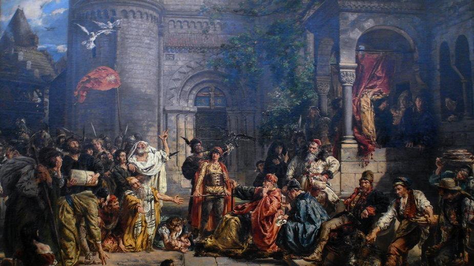 """""""Przyjęcie Żydów w Polsce"""", obraz Jana Matejki z 1889 roku (domena publiczna)"""
