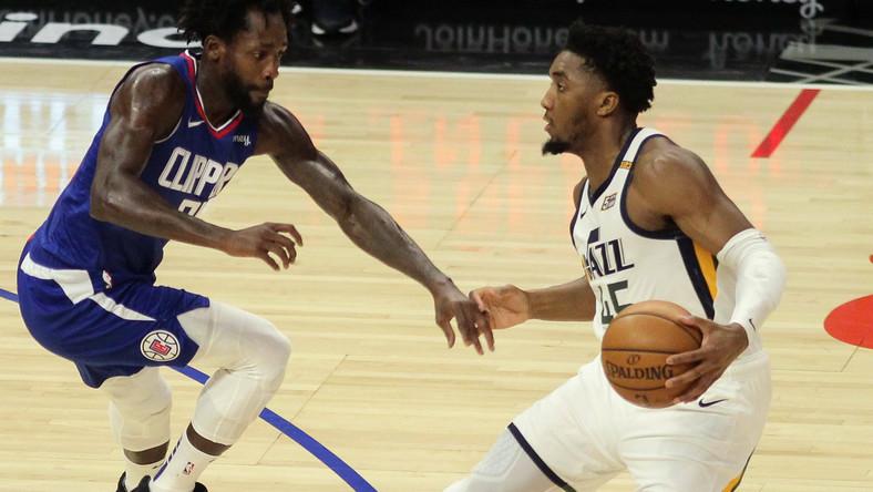 Donovan Mitchell (Utah Jazz) w trakcie meczu z Los Angeles Clippers w lutym 2021 r.