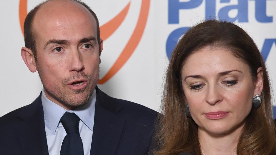 (od lewej) Borys Budka i Joanna Mucha. 18.01.2020 r.