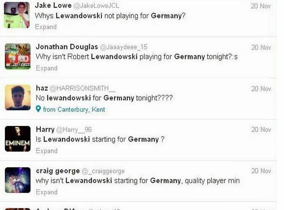 Anglicy zastanawiąją się, czemu w skłądzie Niemców nie ma Lewandowskiego...