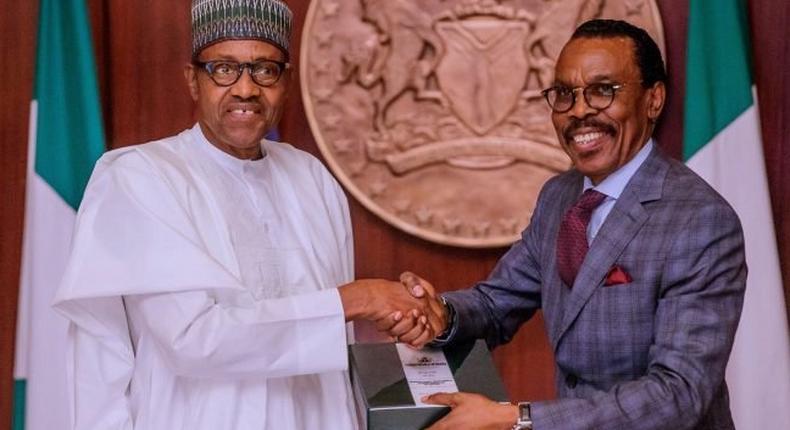 Bismark Rewane and President Muhammadu Buhari