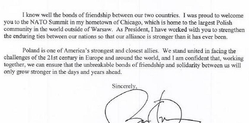 Mamy list Obamy! Wcale nie przeprasza