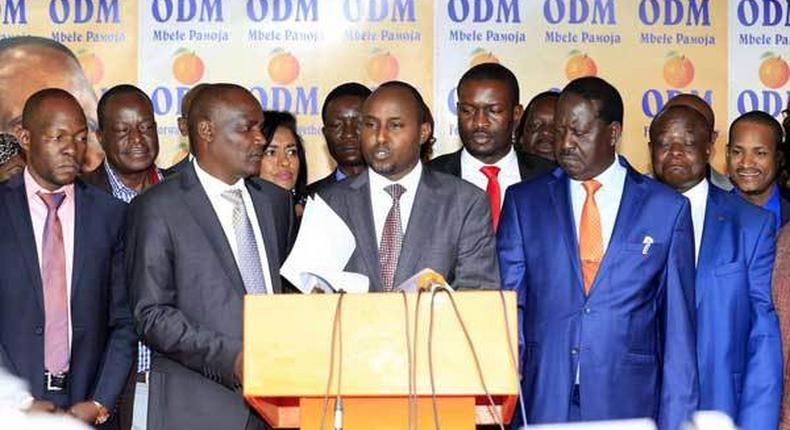 File image of ODM leaders together with party leader Raila Odinga addressing the press at Orange House in Nairobi