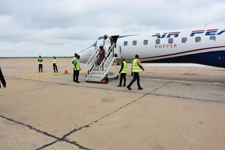 Passengers disembarking at the Kaduna International Airport shortly after arrival of the inaugural Lagos-Kaduna service