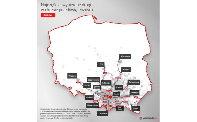 Ruch przedświąteczny z Krakowa