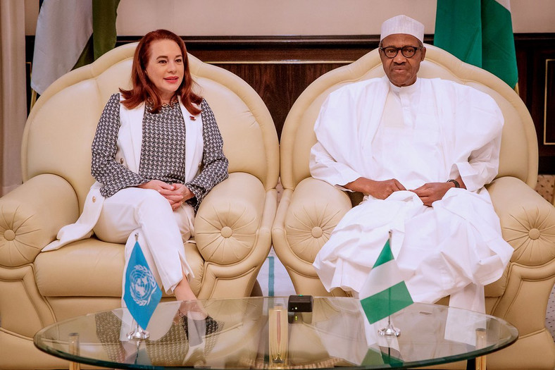 The President of United Nations General Assembly, Maria Fernanda and President Buhari (Twitter MBuhari)