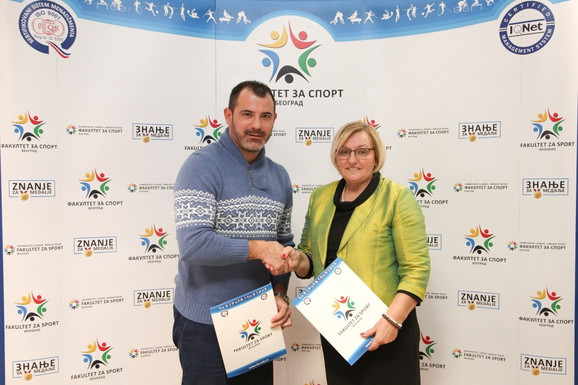 Dejan Stanković i prof. dr Ivanka Gajić, dekanka Fakulteta za sport Univerziteta