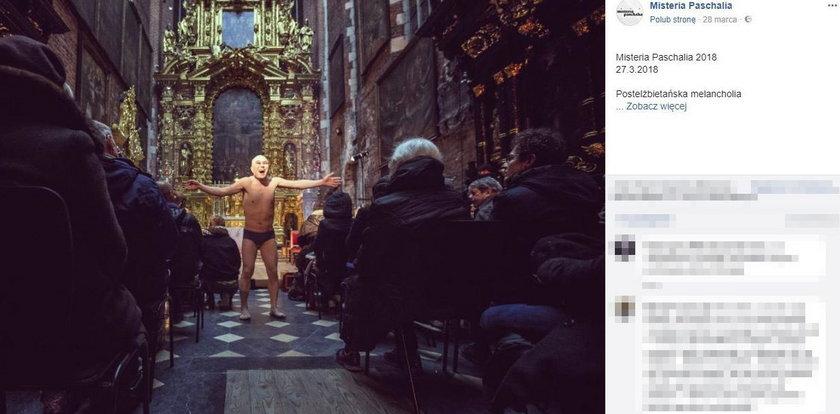 Skandal w krakowskim kościele. Tancerz rozebrał się do slipek