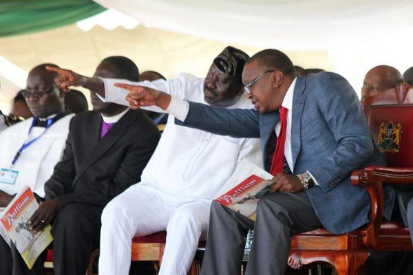 President Uhuru Kenyatta (Right) and ODM leader Raila Odinga at a past function