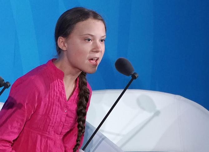 Greta Tunberg za govornicom u Njujorku