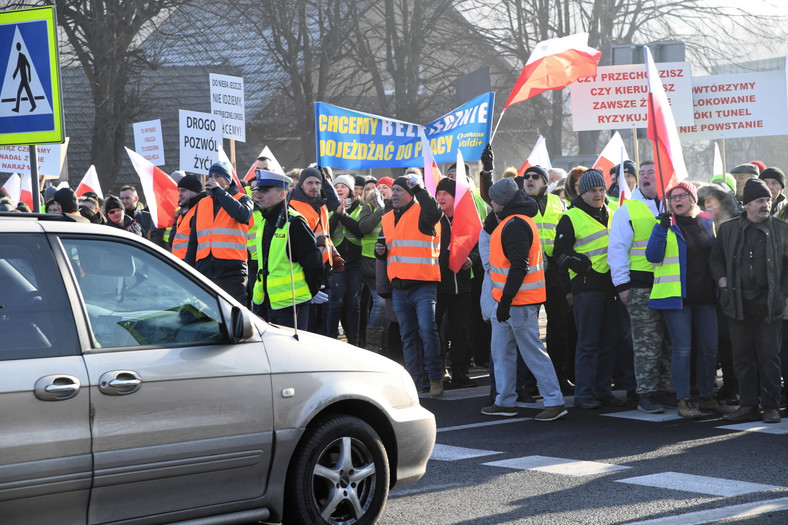 Blokada zakopianki w Krzyszkowicach