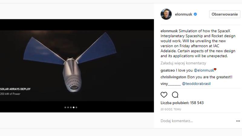 Elon Musk prezentuje między planetarny statek i rakietę SpaceX
