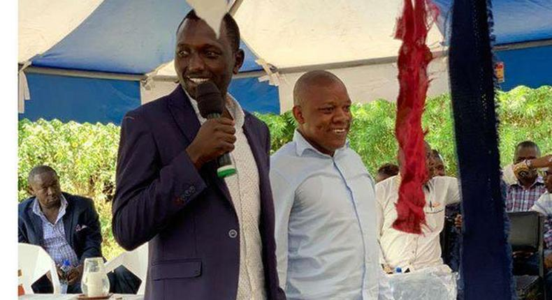 Nick Ruto and Jubilee Party youth leader Victor Ayugi at a fundraiser at Nyamasore Catholic Church in Rarieda, on October 6, 2019. His heightened political ativities are seen as a strategy to mobilize support for DP Ruto ahead of 2022 elections