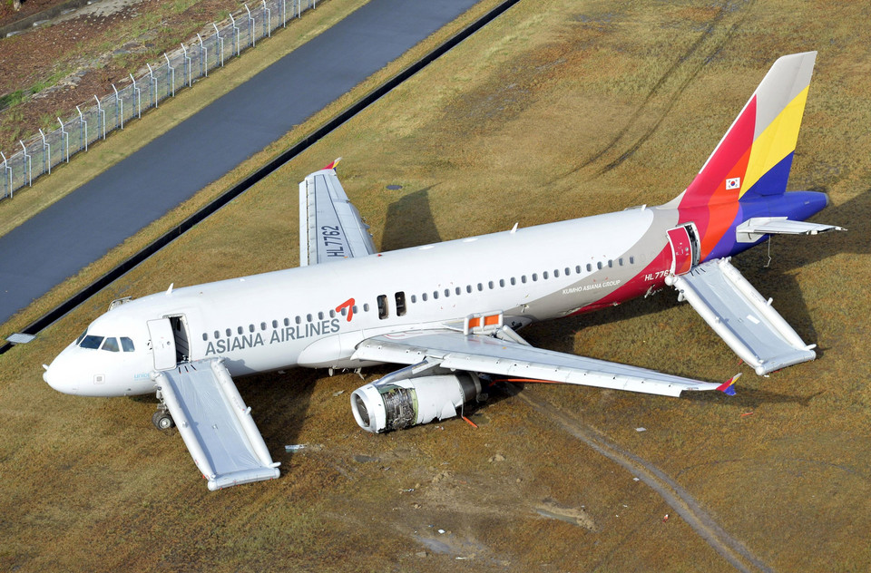 An aerial view shows an Asiana Airlines airplane which ran out of runway after landing at Hiroshima airport in Mihara