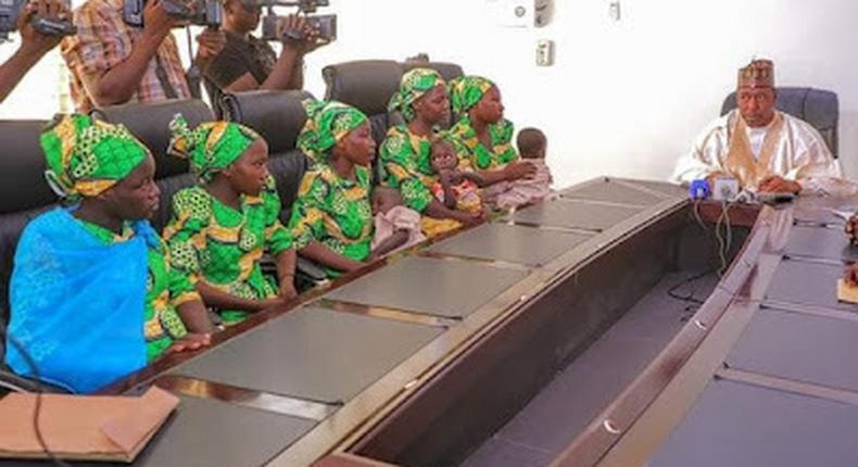 Zulum receives women, children who trekked for 6 days to escape from Boko Haram. [Twitter-]
