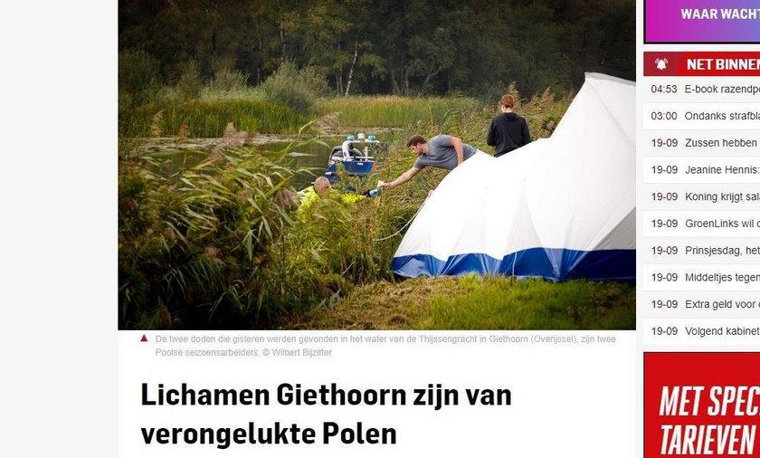 Dwa ciała w holenderskim kanale. To Polacy