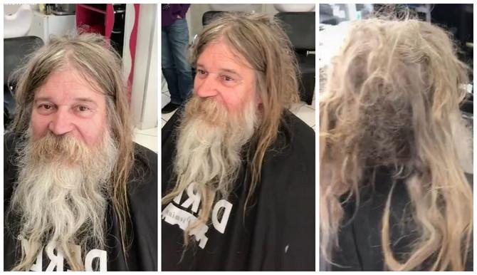 Ovako je beskućnik izgledao kada je došao u frizerski salon