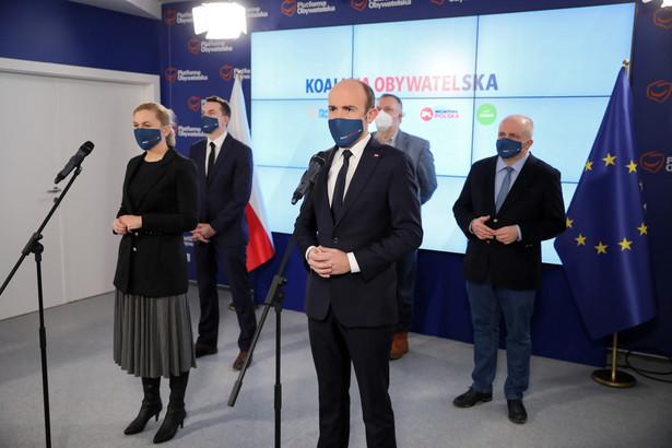 Konferencja liderów Koalicji Obywatelskiej. Borys Budka, Adam Szłapka, Barbara Nowacka, Wojciech Kubalewski, Paweł Kowal