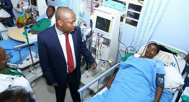 Mike Sonko during a past visit at Mbagathi Hospital