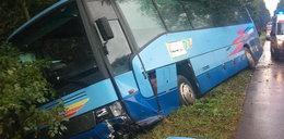 Groza na drodze. Autobus zderzył się czołowo i utknął w rowie
