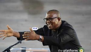 Mr. Peter Obi, Ex-Governor of Anambra State, Addressing the audience at the Platform, 2017