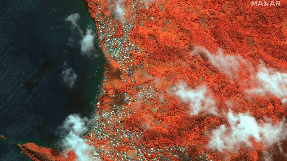 Zdjęcia satelitarne wyspy Saint Vincent po erupcji wulkanu