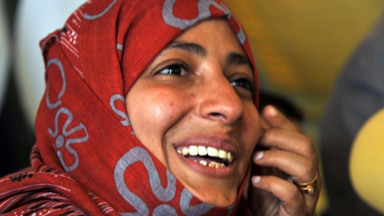 Tawakkul Karman - dziennikarka i obrończyni praw człowieka, laureatka pokojowej nagrody Nobla 2011.