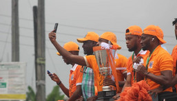 kwa United hold trophy parade in Uyo (Twitter/Pooja Media)