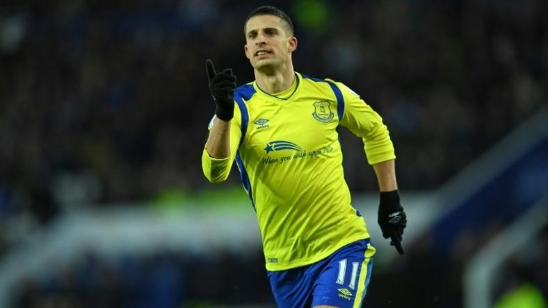 Everton's Kevin Mirallas celebrates after scoring a goal during their English Premier League match against Leicester City, at King Power Stadium in Leicester, on December 26, 2016