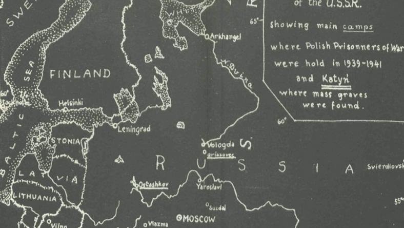 Mapa pokazująca główne obozy, gdzie przetrzymywani byli polscy więźniowie od 1939 do 1941, fot. archives.gov